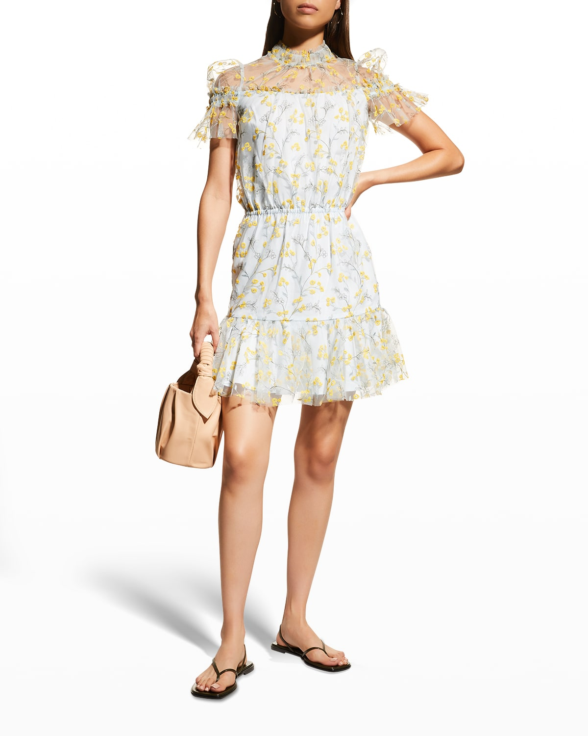 Floral-Embroidered Tulle Overlay Dress