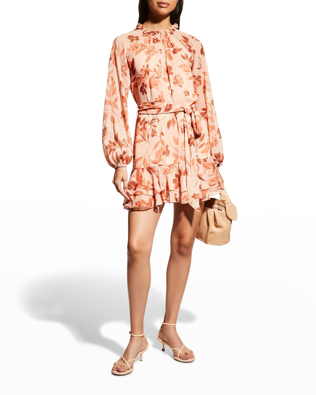 Floral Crinkle Chiffon Short Dress