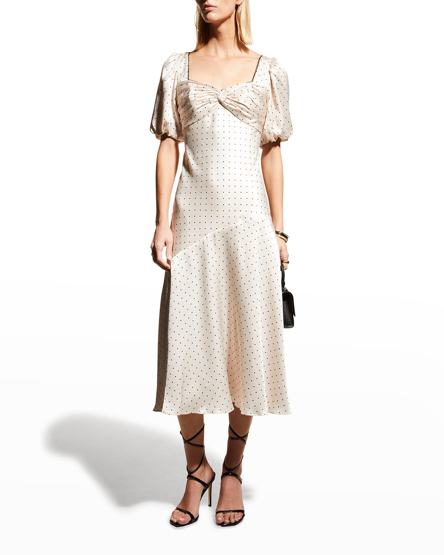Polka-Dot Satin Puff-Sleeve Midi Dress