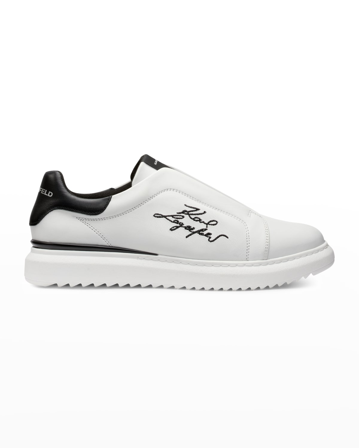 Men's Logo Embroidered Laceless Low-Top Sneakers