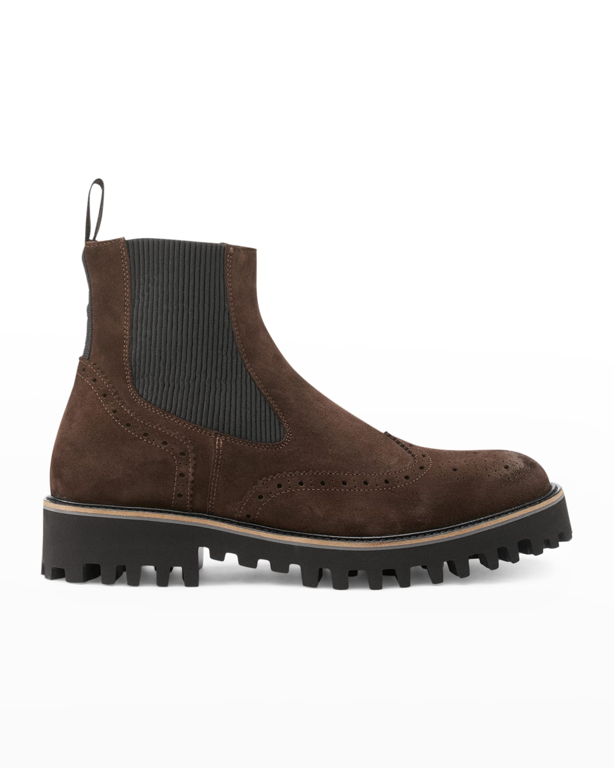 Men's Wing-Tip Suede Lug-Sole Chelsea Boots