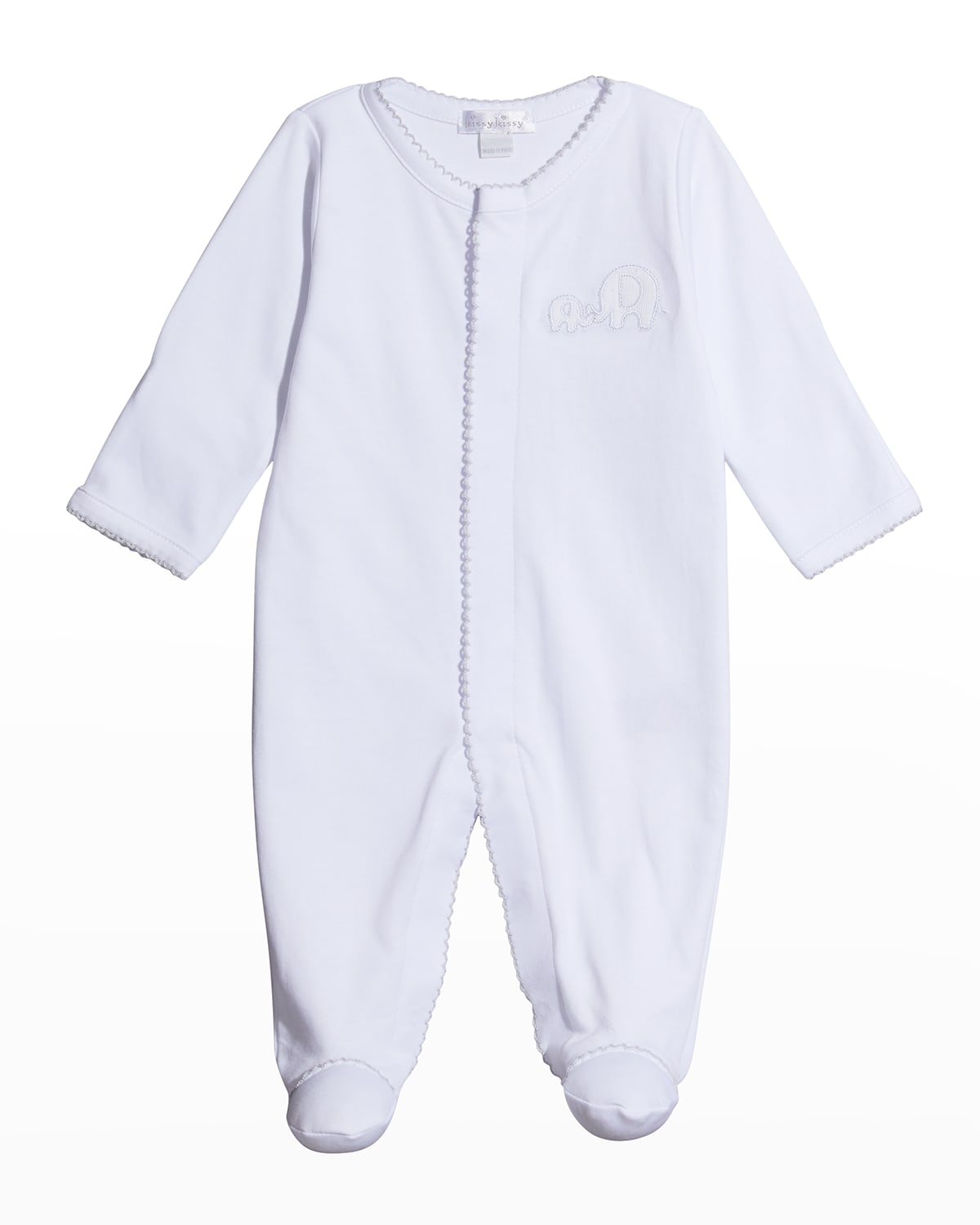Girl's Elephant Love Embroidered Footie Pajamas
