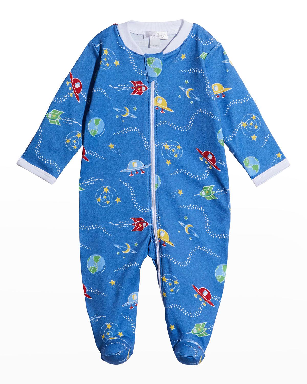 Boy's Intergalactic Zip Footie Pajamas
