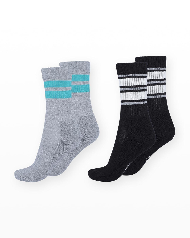 Kid's Norman 2-Pack Striped Rib-Knit Sock Set
