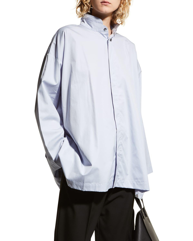 Mandarin Collar Poplin Shirt