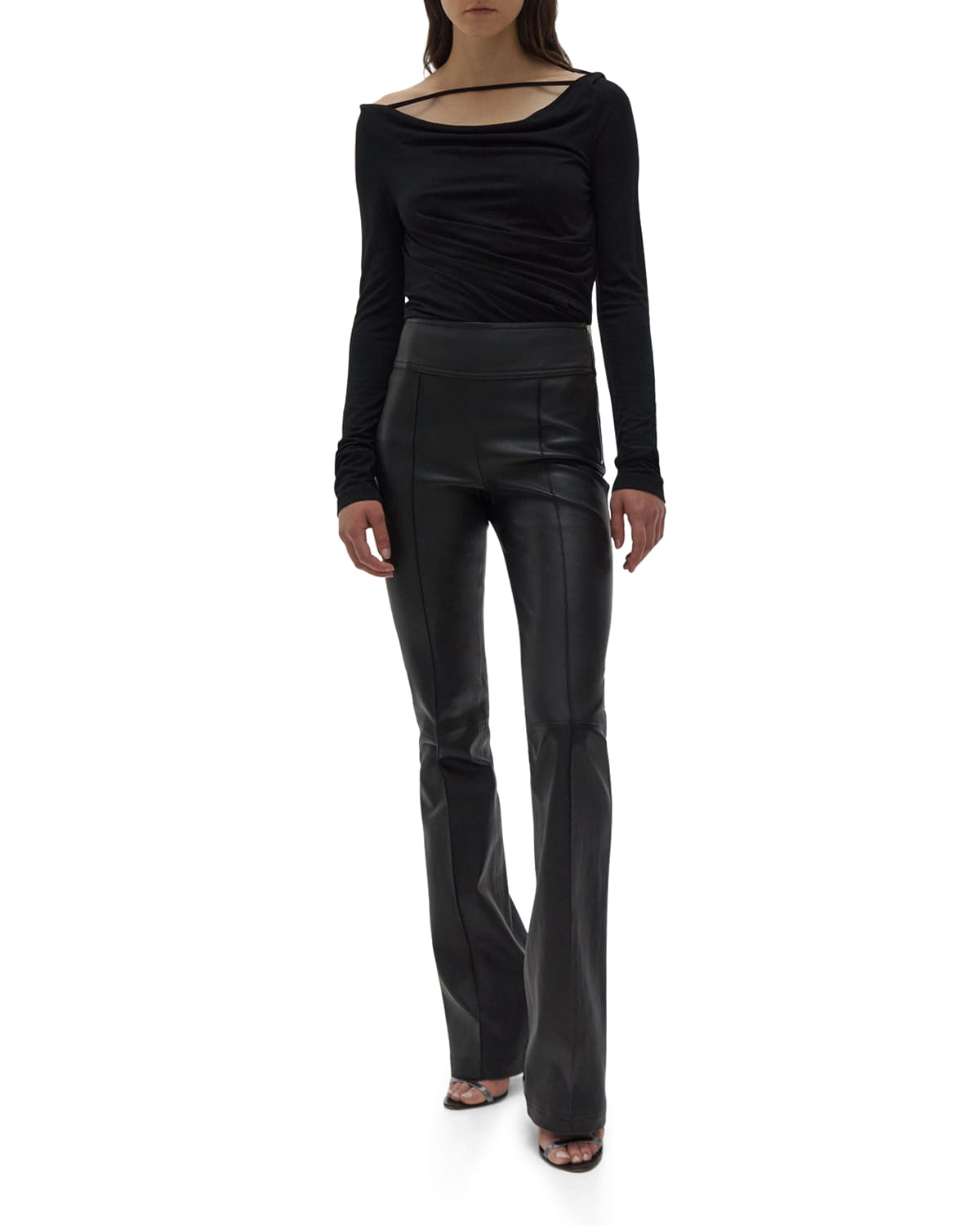 Leather Boot-Cut Stretch Pants