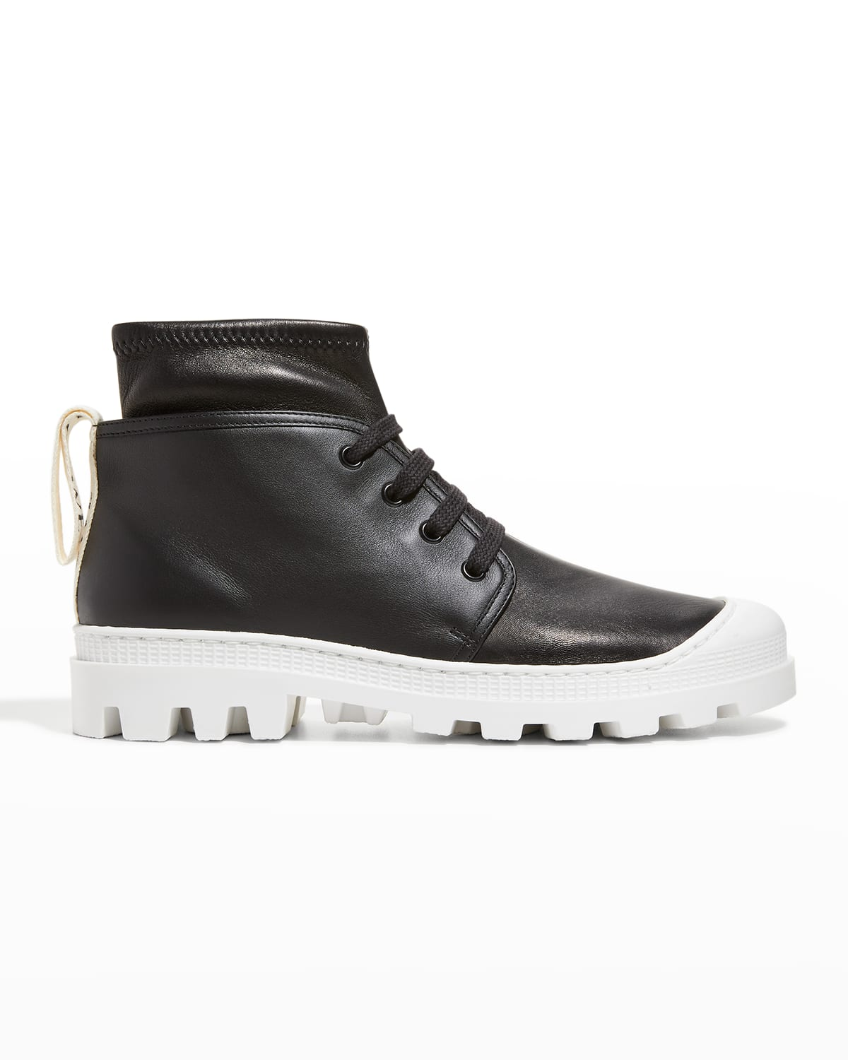 Stretch Leather Contrast-Sole Combat Booties