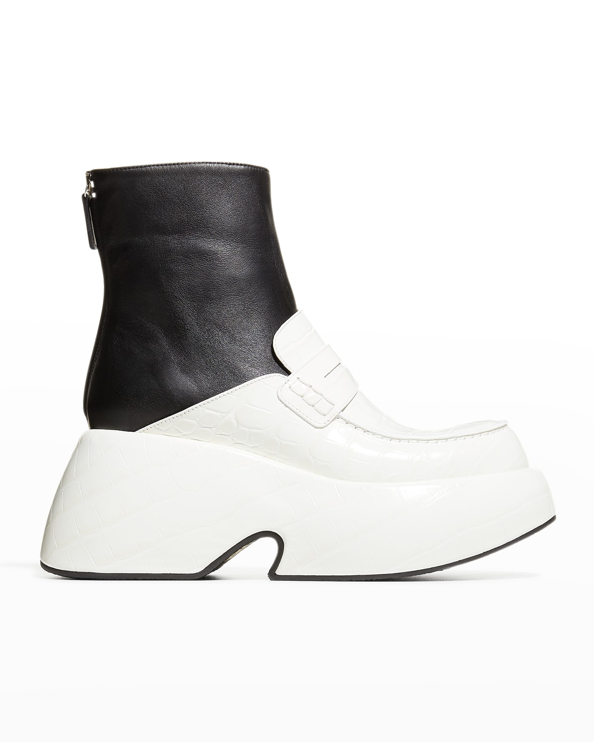 Bicolor Wedge Loafer Boots