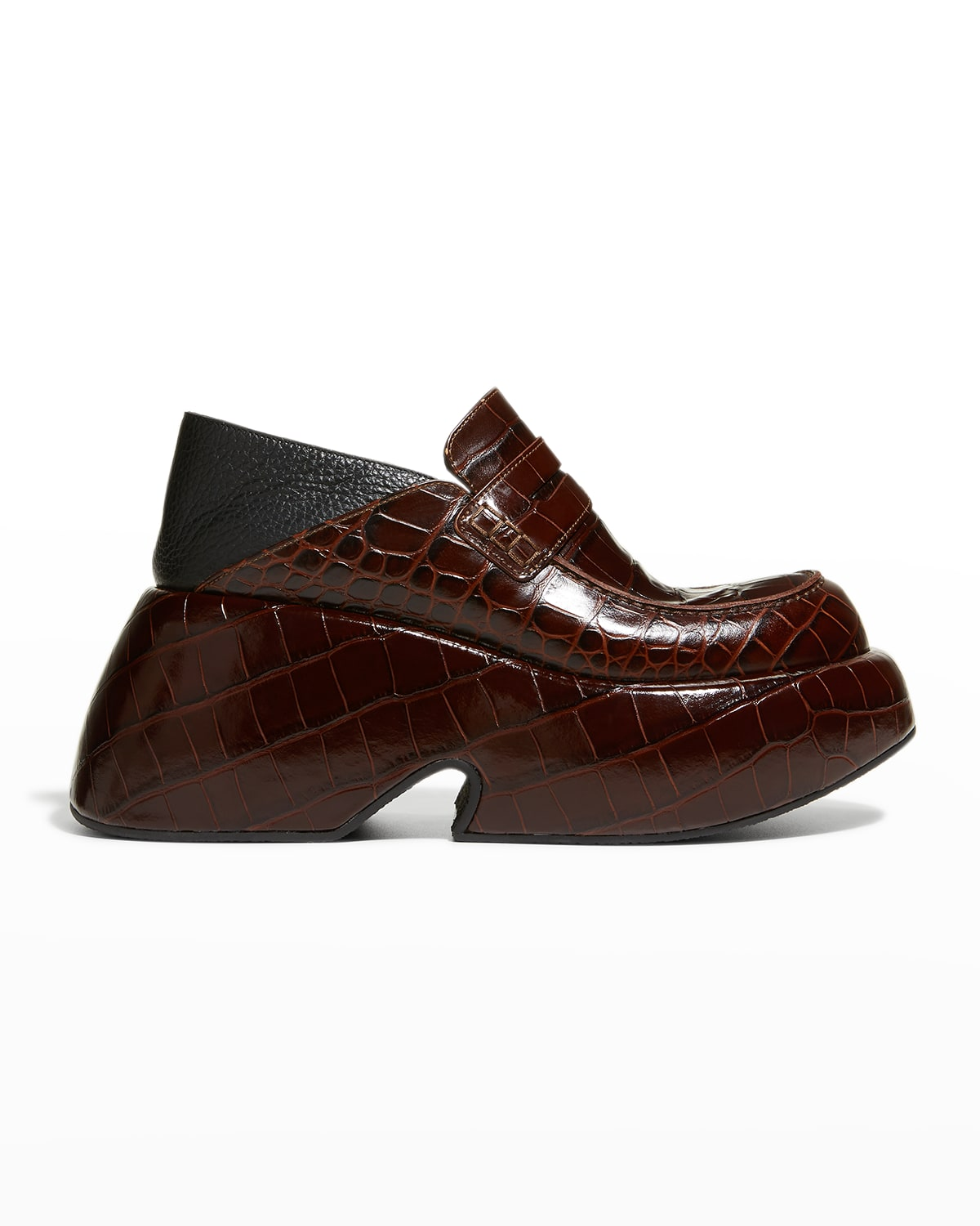 Mock-Croc Wedge Penny Loafers