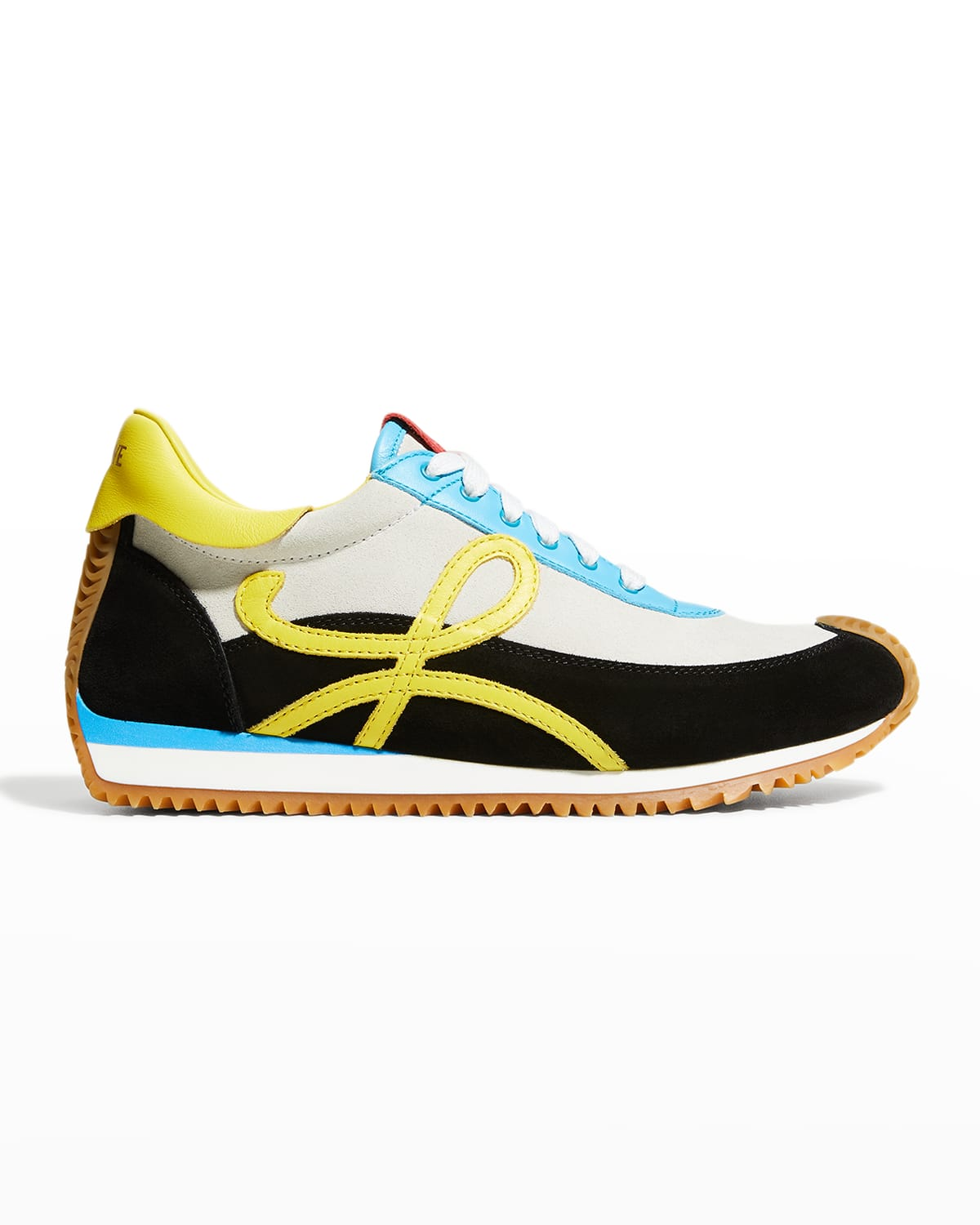 Flow Colorblock Mixed Leather Retro Runner Sneakers