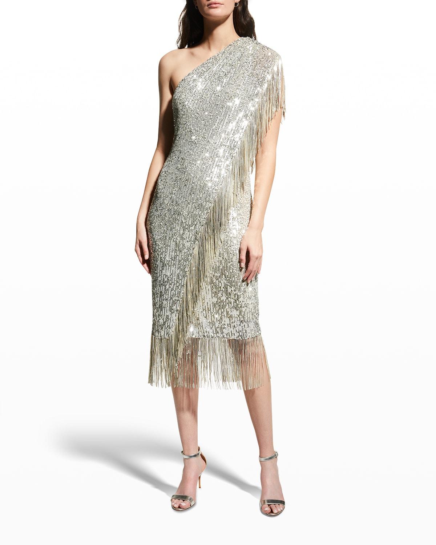 One-Shoulder Fringed Sequin Toga Dress