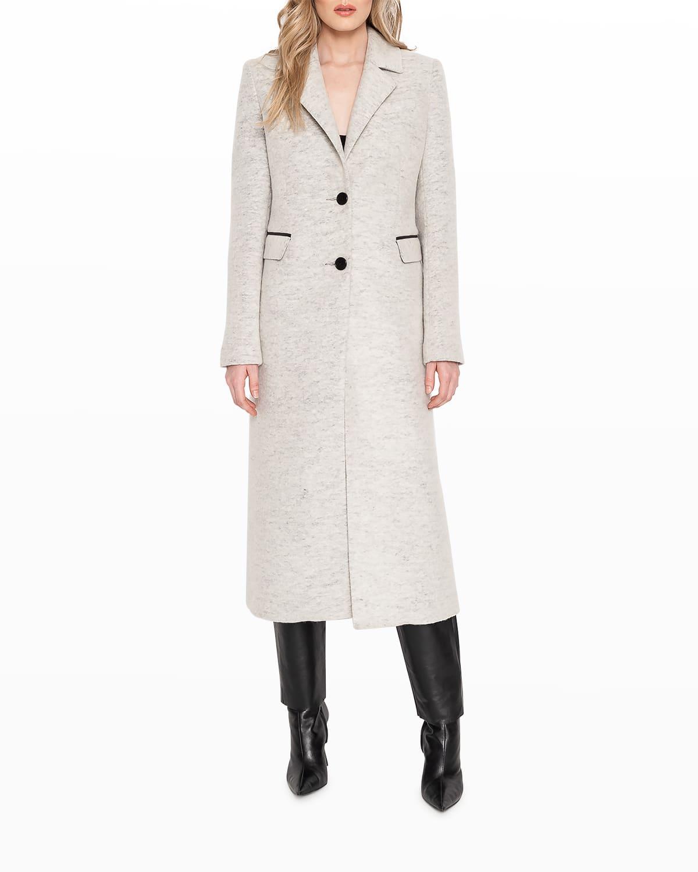 Malva Tailored Top Coat with Leather Bib