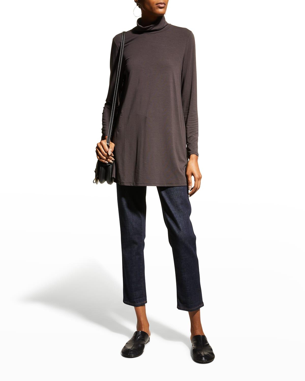 Scrunch-Neck Long-Sleeve Jersey Tunic