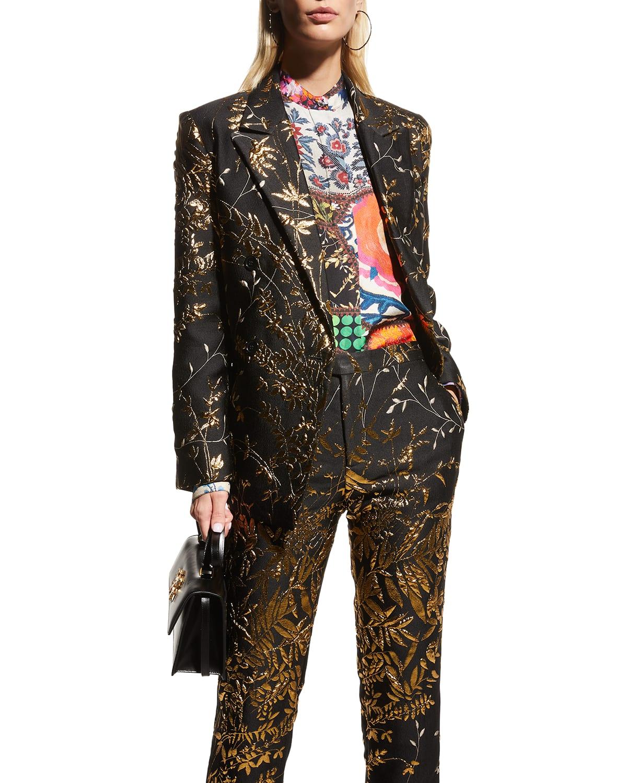 Patchwork Print Silk Tunic Blouse