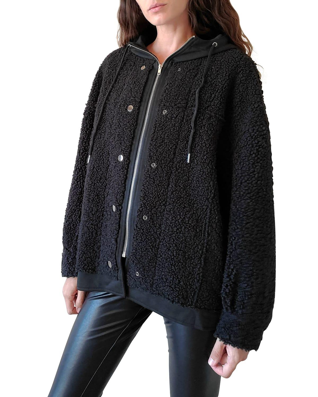 Indie Faux-Shearling Hooded Jacket