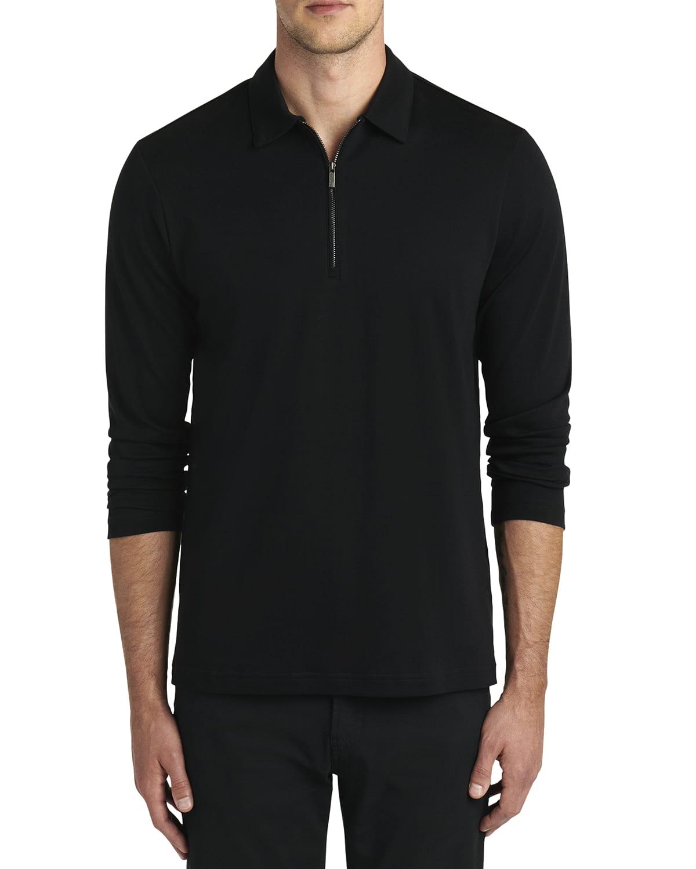 Men's Long-Sleeve Quarter-Zip Placket Polo Shirt