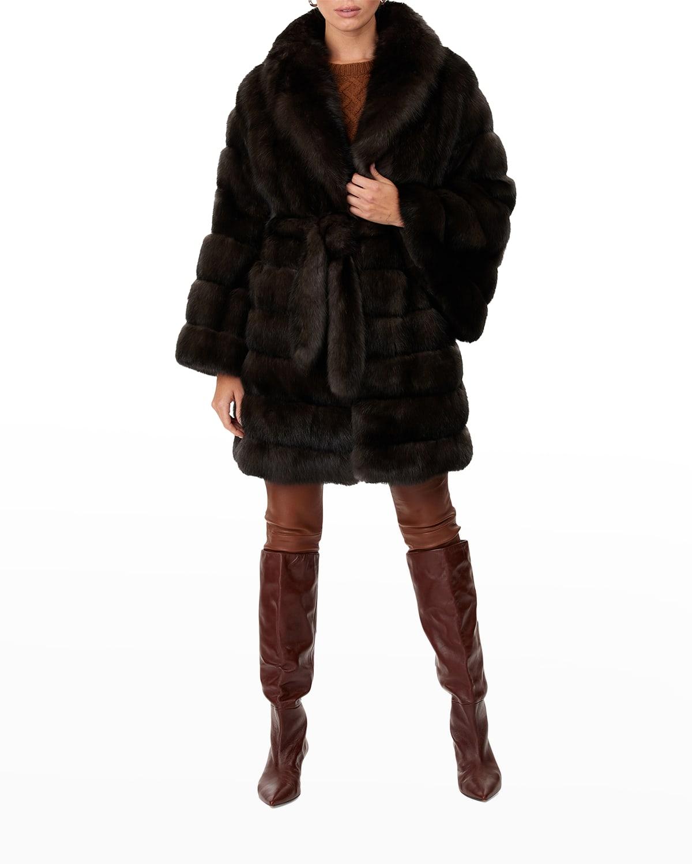Horizontal Sable Fur Belted Coat