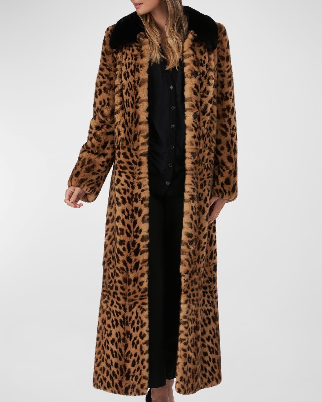 Leopard-Print Long Fur Coat