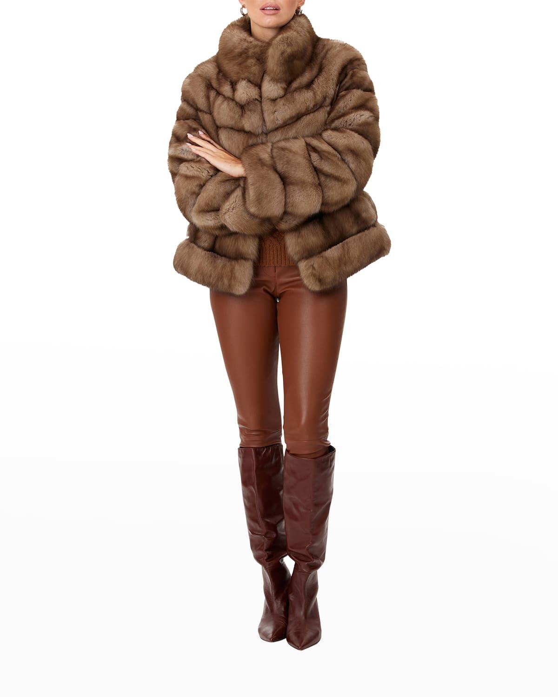 Horizontal Russian Sable Fur Jacket