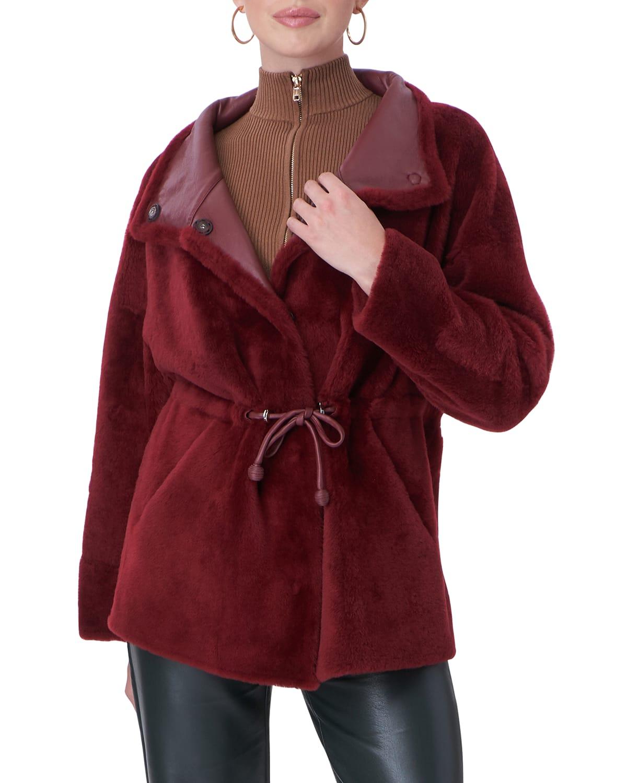 Shearling Jacket w/ Toggle Cinched Waist