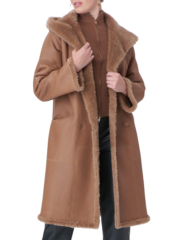 Hooded Reversible Shearling Jacket