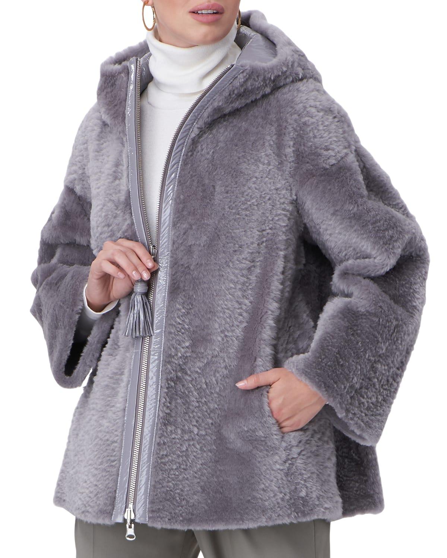 Reversible Shearling Hooded Jacket