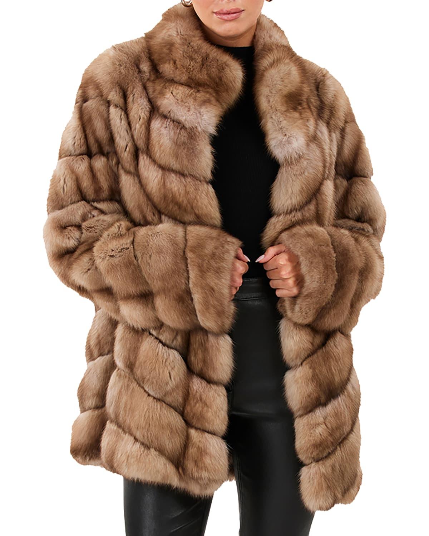 Chevron Sable Fur Jacket