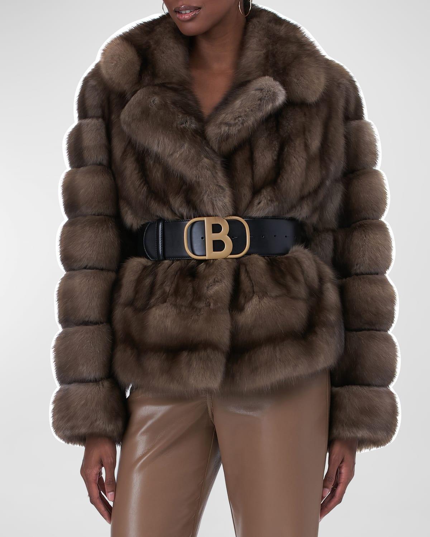 Horizontal-Sleeve Sable Fur Jacket