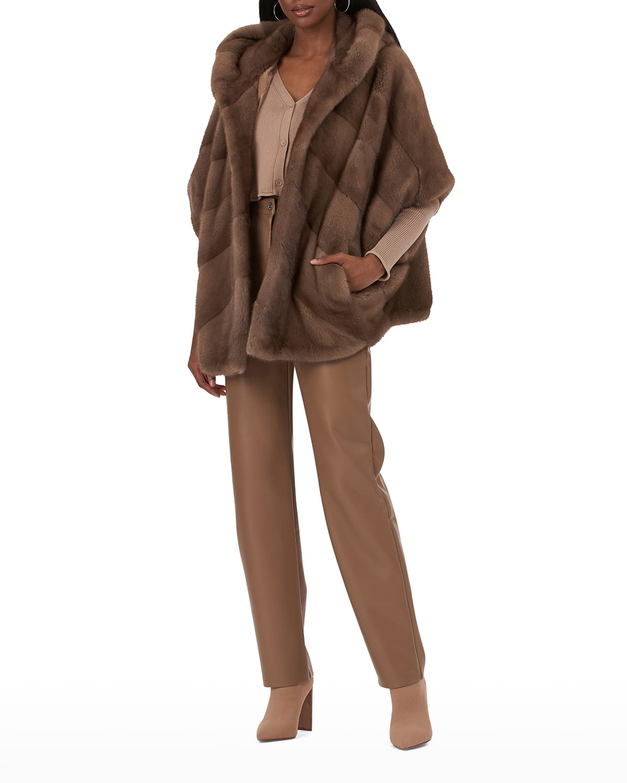 Short-Sleeve Chevron Fur Jacket