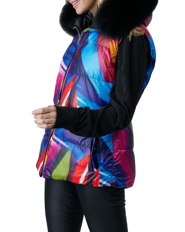 Reversible Apres-Ski Vest w/ Detachable Fox Fur Trim
