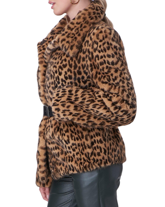 Leopard-Print Belted Mink-Fur Jacket