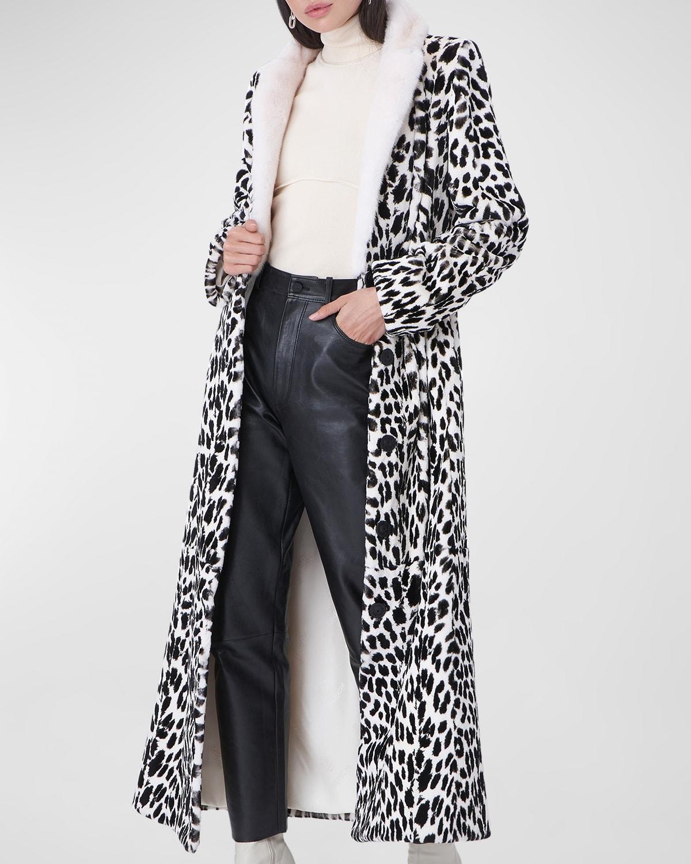 Leopard Printed Mink Fur Coat
