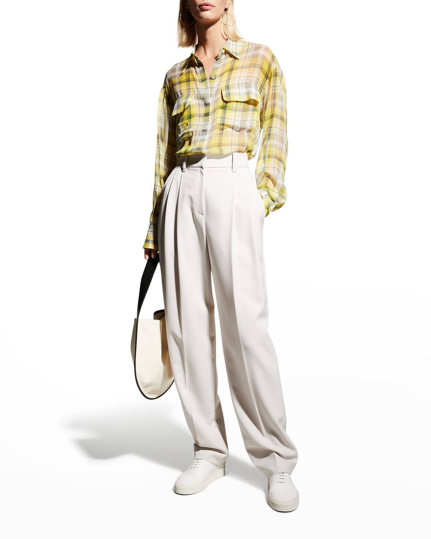 Melanni Plaid Silk Shirt