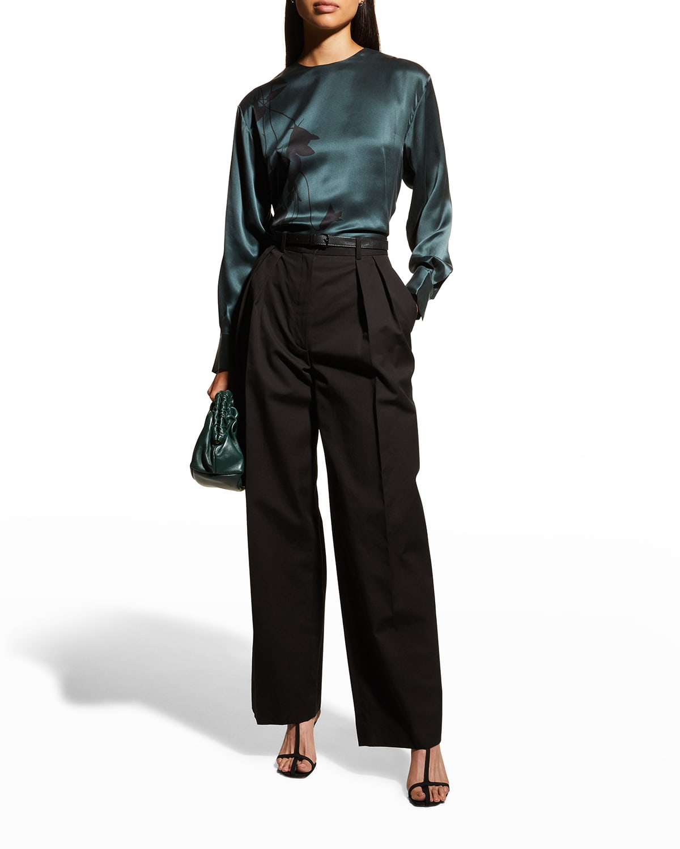 Jeunelle Long-Sleeve Silk Blouse