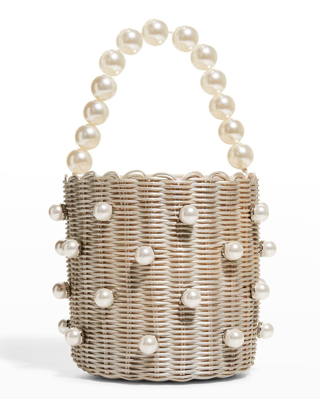 Chloe Woven Pearly Top-Handle Bucket Bag