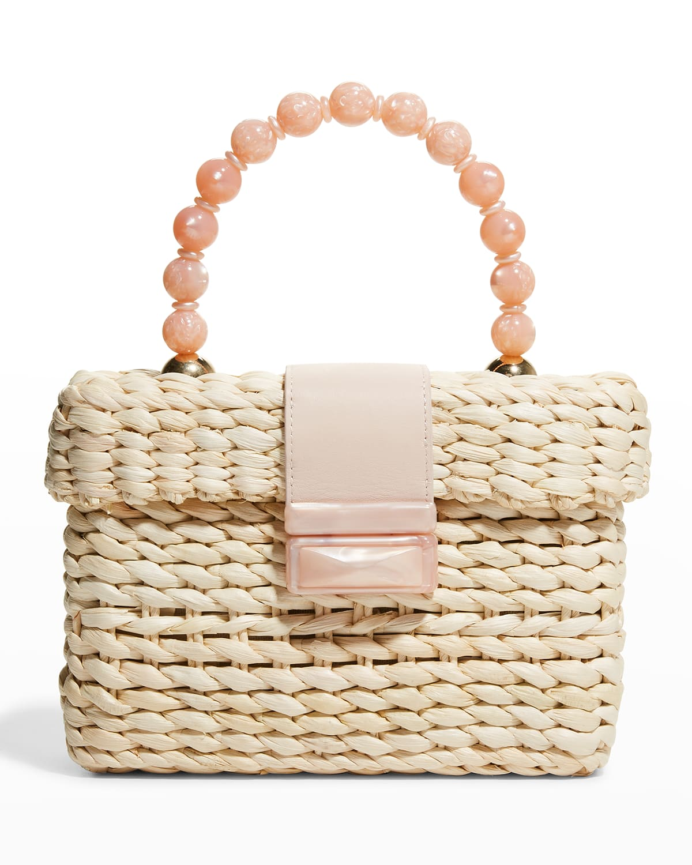 Stella Marble Beaded Top-Handle Box Bag