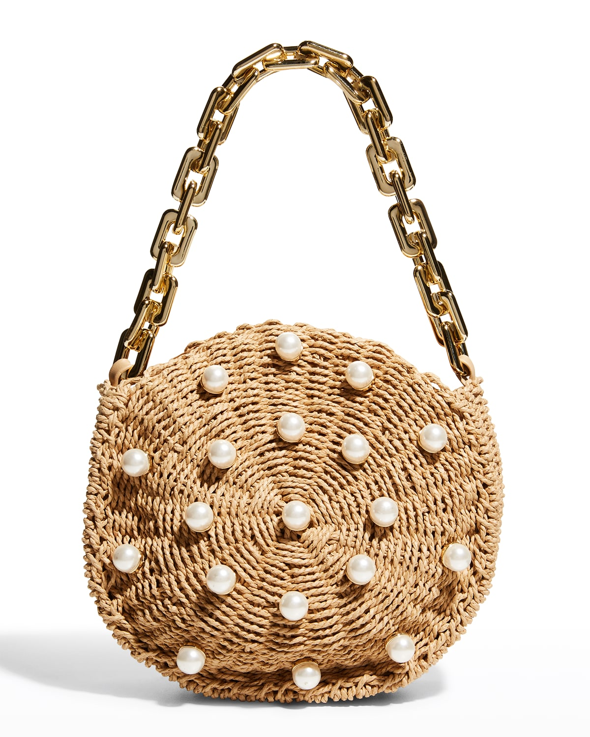 Willow Pearl Straw Chain Top-Handle Bag
