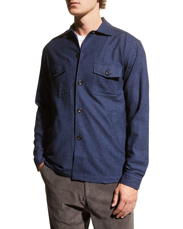 Men's Brushed Wool-Blend Shirt Jacket