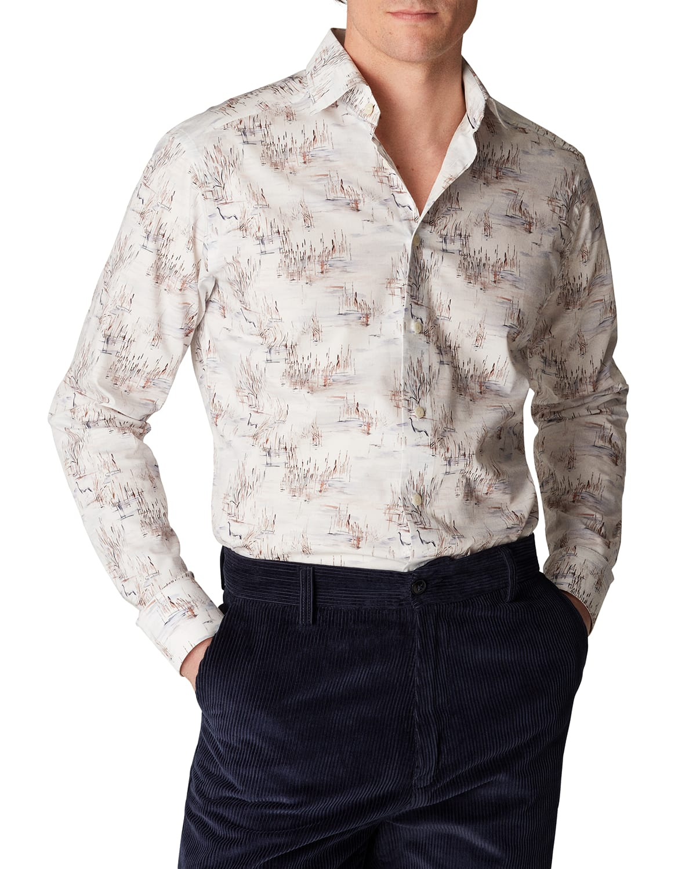 Men's Slim Crane-Print Dress Shirt
