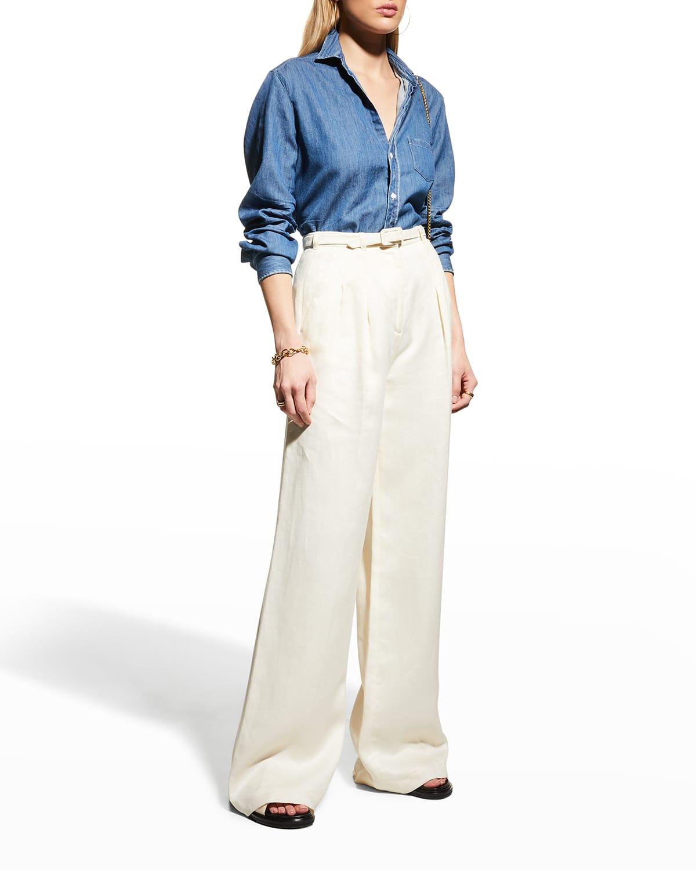 Eileen Woven Chambray Button-Front Shirt