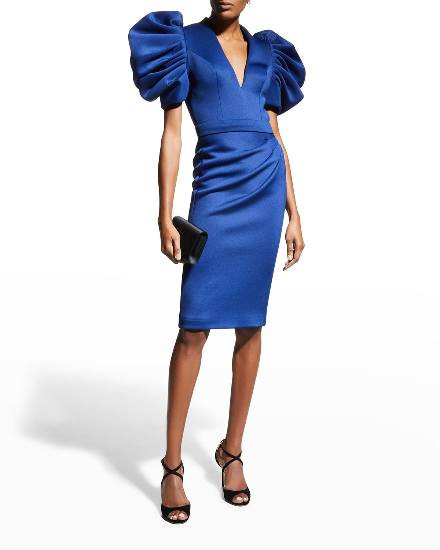 Deep V-Neck Puff-Sleeve Scuba Dress