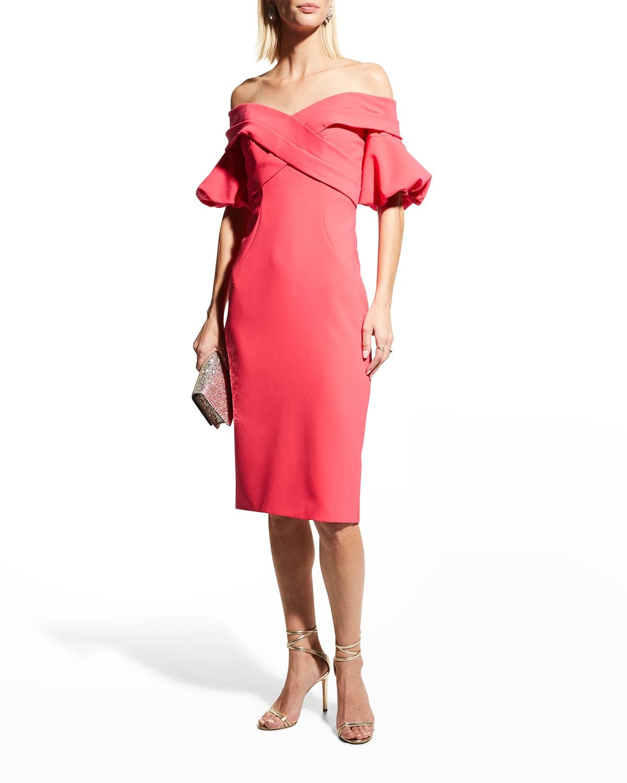 Off-Shoulder Puff-Sleeve Crepe Dress
