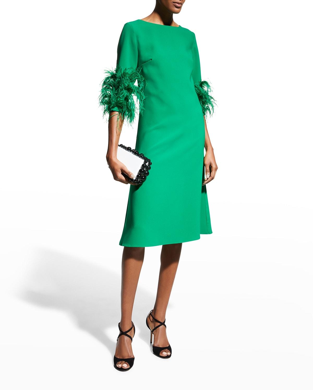 Crepe A-Line Dress w/ Feather Cuffs