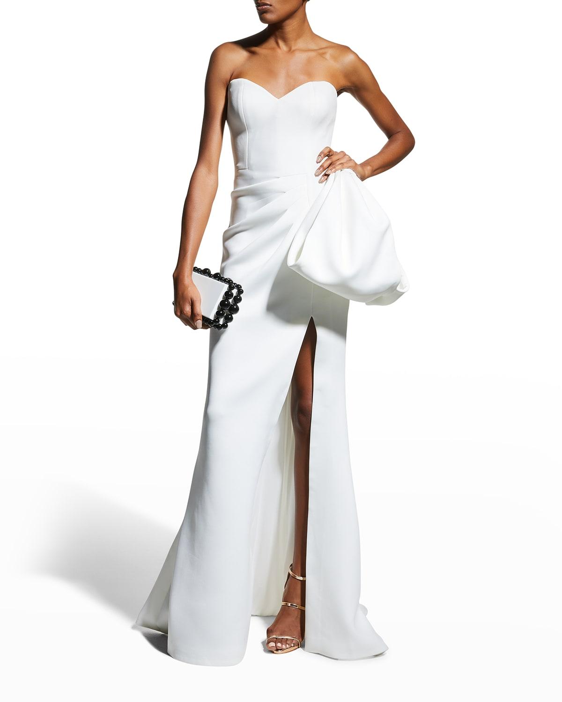 Scuba Bustier Gown w/ Side Drape