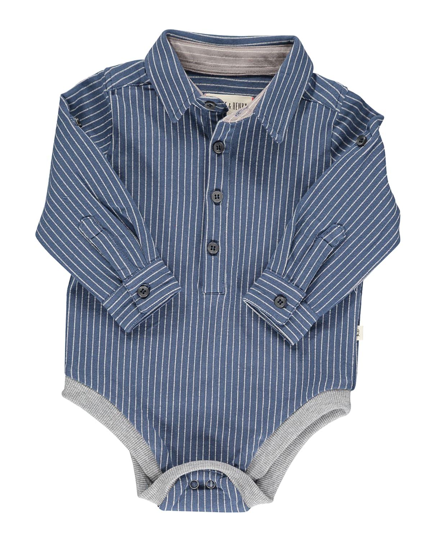 Boys' Columbia Half Button Down Stripe Bodysuit