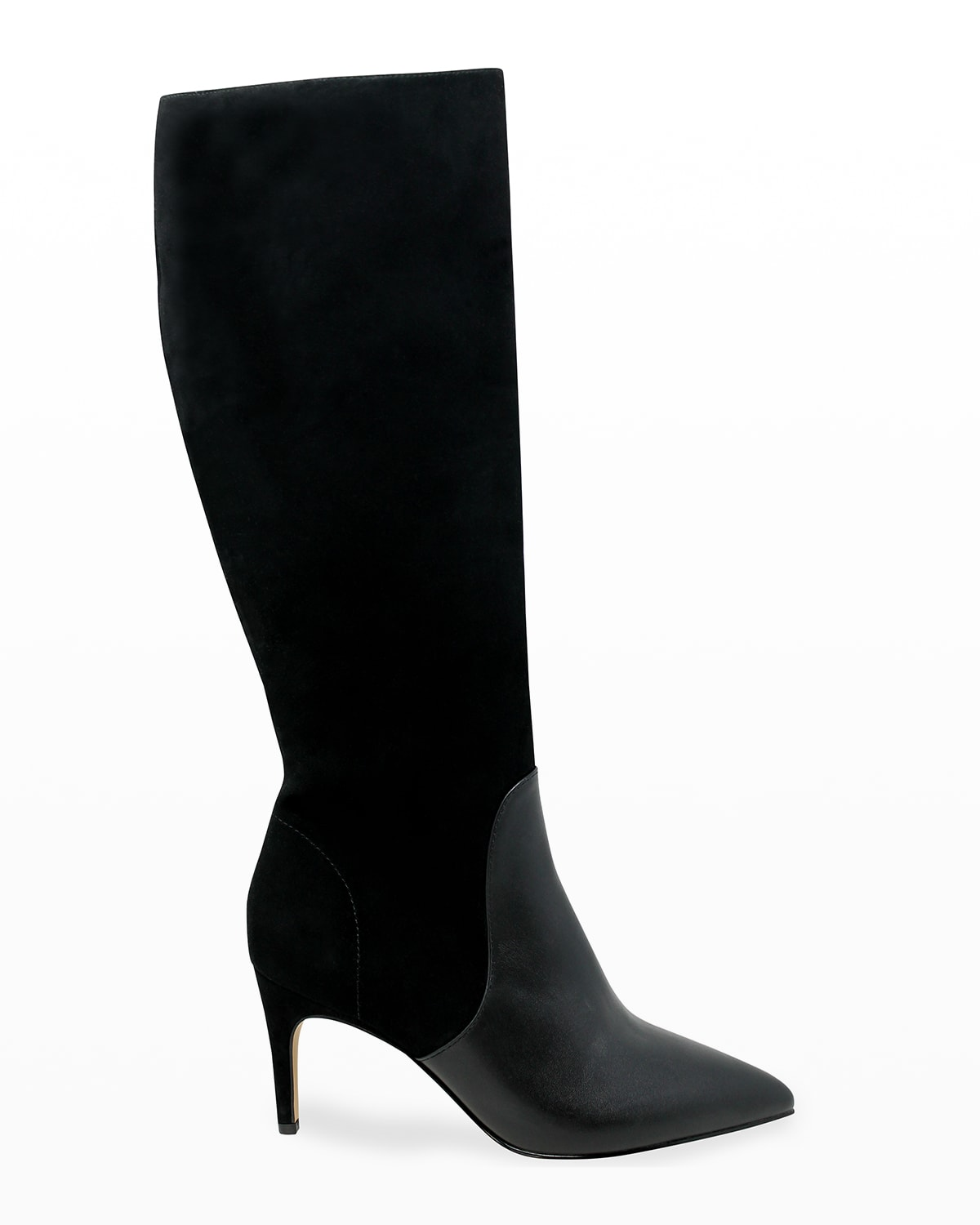 Pinstripe Stretch Suede-Leather Boots