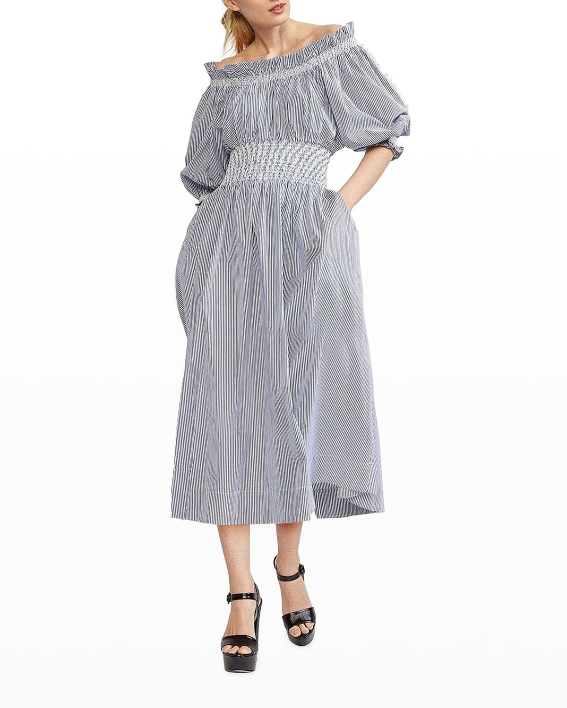 June Striped Off-Shoulder Midi Dress