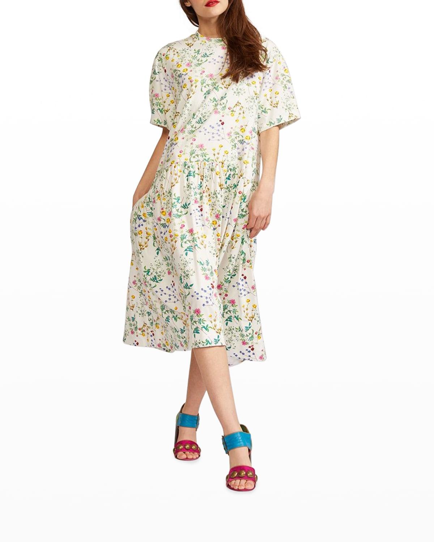 Valery Floral-Print Combo Tee Dress