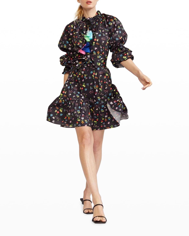 Betty Floral-Print Tassel-Tie Dress
