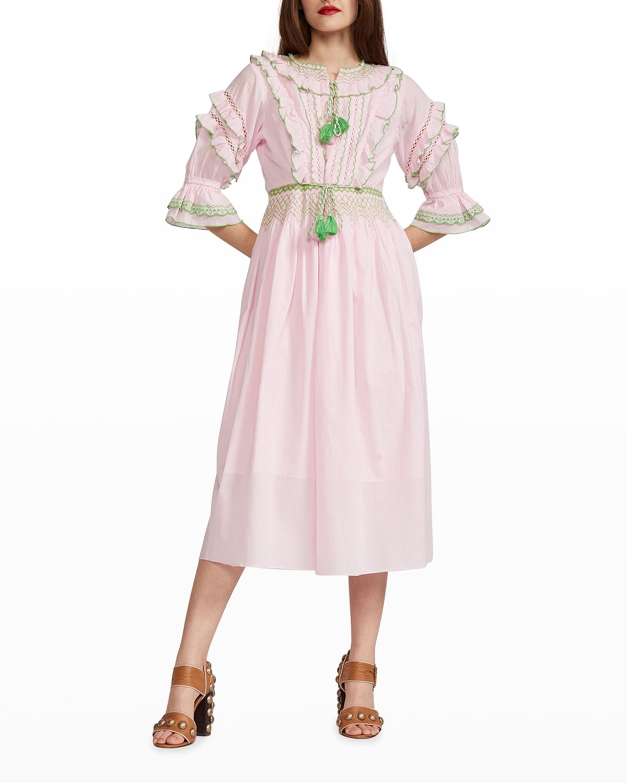 Daliah Tassel Cotton Midi Dress